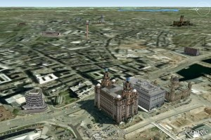 Google Earth view of Liverpool Pier Head