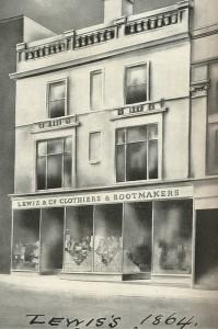 Drawing of Lewis's Original Department Store, 1869