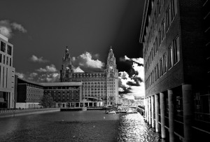 A photo of the Liver Building from Princes Dock, entitled Two of Us, by Eric the Fish via Flickr