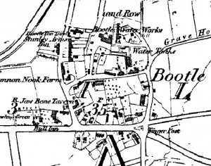 The Ordnance Survey map from 1851 showing Bootle village before it was absorbed into Liverpool