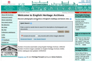Screenshot of the English Heritage Archives homepage