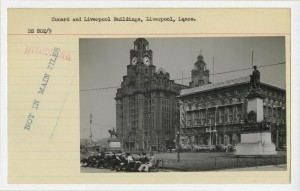 Photo card showing the Cunard Building and the Liver Building, from The National Archives