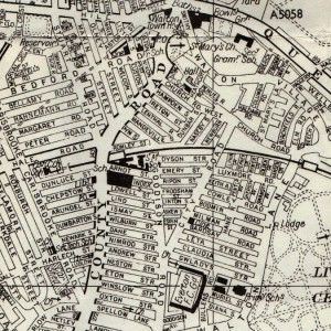 1960s map of Anfield, Liverpool, showing some Welsh Streets