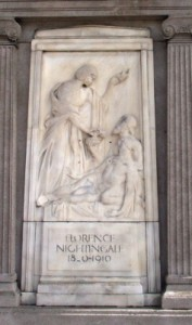 Photo of the marble Florence Nightingale Memorial in Liverpool