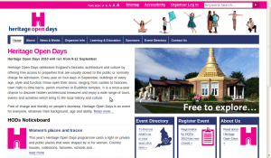 Screenshot of the Heritage Open Days homepage