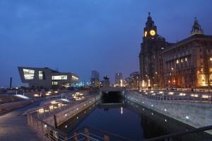 Photograph of Liverpool Pier Head looking north up the new canal extension