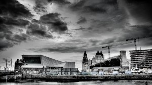 Photograph of Liverpool waterfront, including new museum under construction