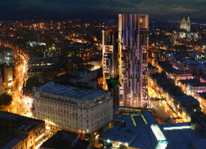 Nighttime aerial view of how Liverpool Central Park will look