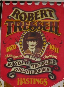 Photograph of the Robert Tressell Banner, made for the Robert Tressell Society in Hastings Taken in June 2005