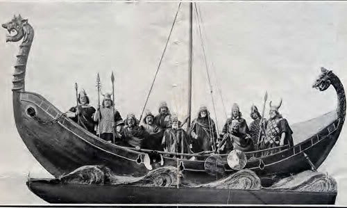 Photograph of a Viking longboat, taking during the 600th anniversary of the foundation of Liverpool