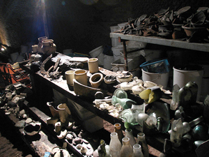 Photograph of finds recovered from the Williamson Tunnels in Liverpool