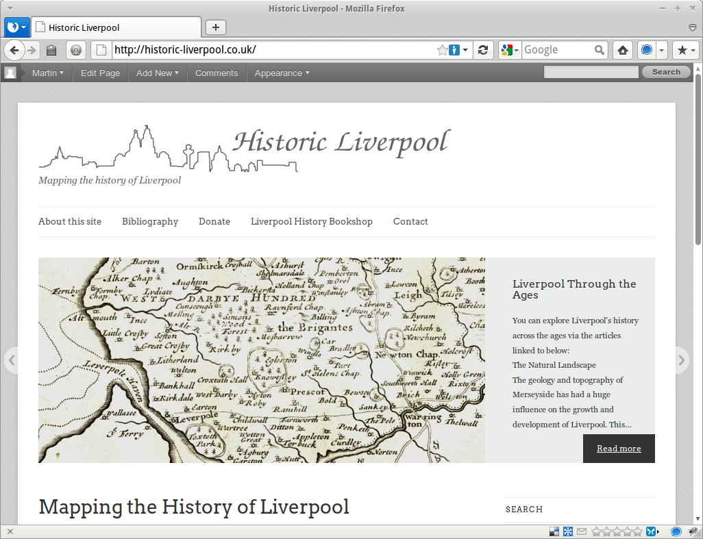 Screenshot of the Historic Liverpool homepage