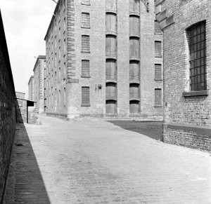 The Albert Dock warehouses in 1956, before sensitive redevelopment in the 1980s