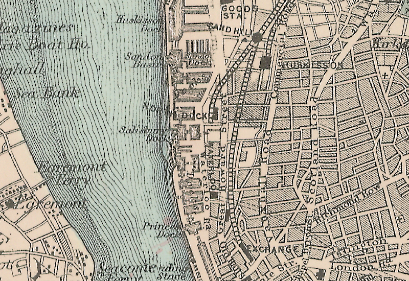 An 1885 map showing Liverpool's north docks