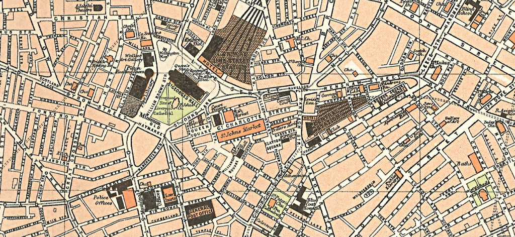 The centre of the city of Liverpool in 1898, from Royal Atlas of England and Wales