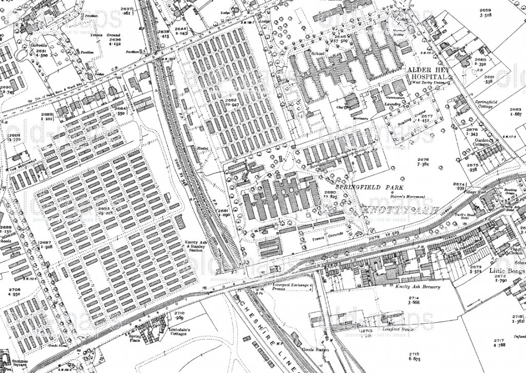 Alder Hey hospital ('Camp Hospital 40') surrounded by the barracks of the American Rest Camp, opened on March 26, 1918