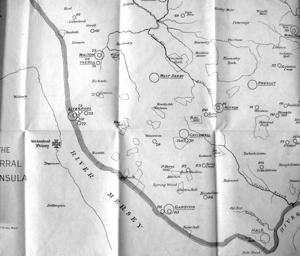 Extract from a map of ancient crosses in Lancashire