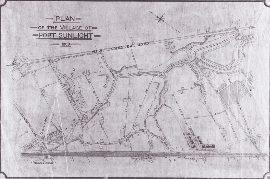 Sketch map of the Port Sunlight area in 1889