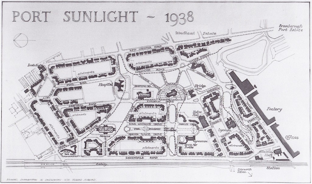 Map of Port Sunlight as it would have looked in 1938