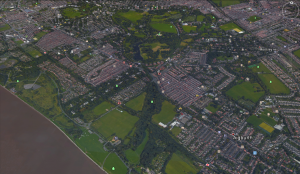 Sefton Boating Lake is linked to the Mersey and its old outflow point, Knotts Hole, revealed by the trees on Otterspool and Aigburth Roads