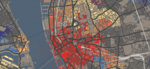 Screenshot of interactive map of building ages
